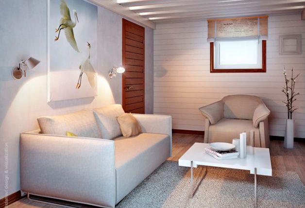 Интерьер комнаты в цоколе
